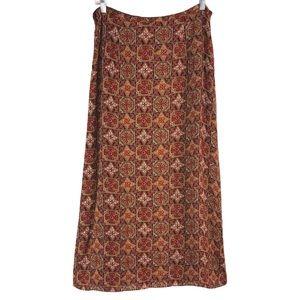 100% Silk Royal Mixed Print Skirt, Size 10